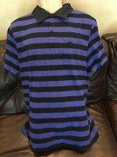 NWT Hang Ten Men's Striped Polo Short Sleeve Shirt  Extra Large Black Purple $98