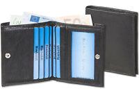 Rimbaldi® flache Geldbörse mit Außen-Hartgeldfach in Schwarz aus Nappa Leder