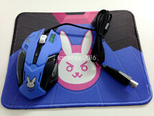 Overwatch OW D.VA  Dva Bunny Cosplay Night Lights Laptop Wired Mouse Free Pad