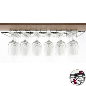 Wineware Wine Glass Storage Hanging Rack Dual Fix (Chrome Plated Steel)