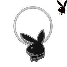 Playboy Toe Ring Bunny Logo Black Enamel Stretch Illusion Band Silver Plated