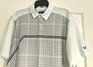 Callaway Golf Polo Shirt Short Sleeve White Stripe Squares XL Polyester Wicking