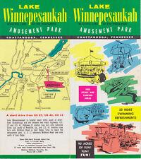 Lake Winnepesaukah Amusement Park Brochure & Ticket Chattanooga Tennessee 1950's