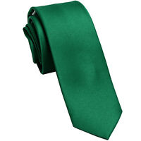 """New Polyester Men's 2.5"""" skinny Neck Tie only solid formal wedding emerald green"""
