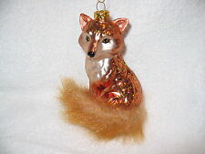 """Fox Glass Ornament - Red Fox with Bushy Tail - 4"""" Tall - Wild Forest Animal"""