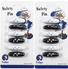 12 xFashion Safety Pins - Black and White 2 x 6 Pack Scarf Pins CLOTHING
