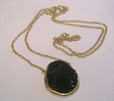 Great silver tone metal chain necklace black crystal style pendant by Claire's