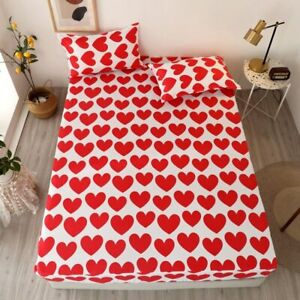 3pcs Printed Fitted Bed Sheet with Pillowcase Sheet on Elastic Lovely Pattern
