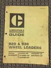 Caterpillar 920 930 Maintenance Manual Guide Wheel Loader 41j 75j 79j 62k 41k
