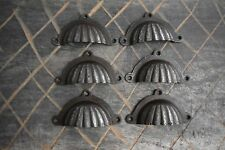 Vintage cast iron Cup cabinet drawer door knobs handles pull rustic 6 pcs