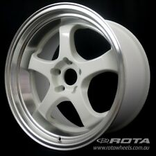 "18"" ROTA D2-EX White/Polish Lip WHEELS RIMS FORD, TOYOTA, HONDA, MITSUBISHI"