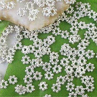 New 4mm 1000Pc Silver Plated Metal Daisy Flower Loose Beads Jewelry Design