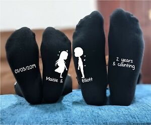 Romantic Cotton Anniversary Gift - His and Hers Personalised Printed Socks