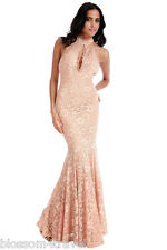 Goddess Lace Keyhole Backless Maxi Evening Fishtail Formal Party Dress Prom 12 Nude