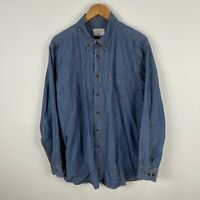 Gazman Mens Denim Button Up Shirt XL Extra Large Blue Long Sleeve Collared