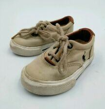 POLO By Ralph Lauren Baby Shoes Size 4 US Beige Canvas Infant Boys POLO BABY