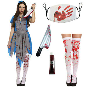 Ladies Halloween Zombie Alice Fancy Dress Costume in Wonderland outfit Horror