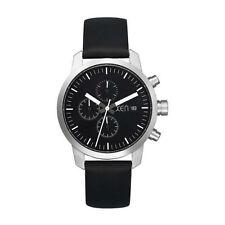 Runde Armbanduhren mit Armband aus echtem Leder und gebürstetem Finish