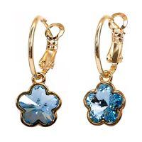 Swarovski Elements Crystal Plum Blossom Pierced Earrings Gold Authentic 7298Gw