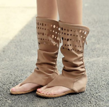 Roman Women Hollow Out Wedge Low Heels Clip Toe Slouch Mid Calf Boots Sandals