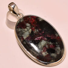 "RUSSIAN EUDIALYTE 925 STERLING SILVER PENDANT 2.30"" {PA-119}"