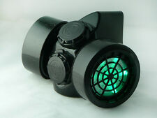 s TrYptiX Cyber Goth Steampunk Light Up Gas Mask GREEN LED Burning Man EDC Ultra