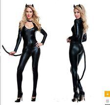 Cosplay Women Sex Slim Leather Leopard Cat Costume Halloween Uniform Free Ship