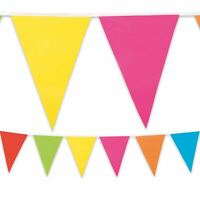 10m Multi Coloured Bunting Flag Pennant Plastic Summer Garden Party Decoration