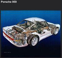Porsche 959,Ferrari F-40, Cobra 427 S/C Cutaway 3-Set Kimble Package Car Poster!