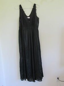 NEW WOMEN'S SHADOWLINE INTIMATES NYLON SEXY NIGHTGOWN BLACK LACE TRIM SIZE 1X