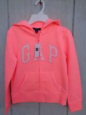 NEW Gap Kids Hoodie Logo Peach Pink Fleece inside Hooded Jacket Coat Zip M 8-9