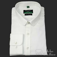 Mens Penny collar shirt White Cotton Oxford Steps Round Club Peaky Blinder Gents