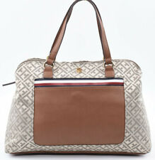 TOMMY HILFIGER Monogram Fabric Satchel Bag, Handbag, Natural/Brown