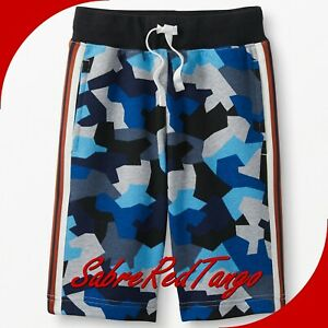 NWT HANNA ANDERSSON FRENCH TERRY LONG SWEATSHORTS MAP BLUE MULTI CAMO 100 4T 4
