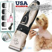 Pet Dog Cat Hair Fur Clippers Grooming Trimmer Kit Professional Cordless Set NEW