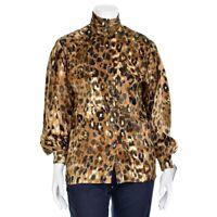 Vtg ESCADA Margaretha Ley Brown Multi Animal Print Silk Blouse Shirt Top sz 34/4
