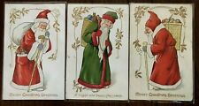 Lot of 3~Tuck Green & Red Robe Old World Santa Claus~Christmas Postcards---s766