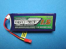 TURNIGY NANO-TECH 1500mAh 2S 20C LIPO BATTERY JST RECEIVER PACK .50 & .90 HELI