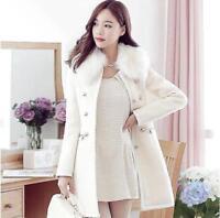 Women Winter Fur Collar Overcoat Long Coat Wool Jacket Slim Trench  Outwear W08