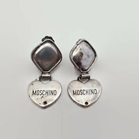 Vintage Moschino by Redwall Made In Italy Silver Tone Clip Heart Earrings
