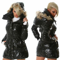 NEW SEXY LONG COAT JACKET w FUR EDGE HOOD ❤ BLACK SIZE S 6-8 ❤ GLOSSI AUSTRALIA
