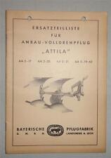 Ersatzteilliste Bayerische Pflugfabrik Anbau-Volldrehpflug Attila von 1962