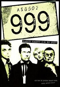"999, Nasty! Nasty!, 12"" x 17"" Promo Poster, 1977, United Artists, Punk Rock"