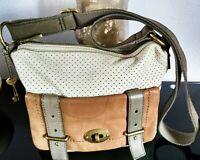 "Women's Classy Medium Light Brown Leather ""FOSSIL"" Vintage Crossbody Bag Purse"