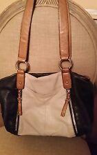 B. Makowsky Black Beige double zipper convertible hobo bag purse