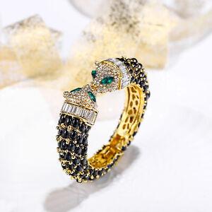 Panther Leopard Bangle Women Animal Bracelet Multi-color Crystal Resin Gold Tone