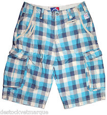 Bermuda cargo treillis LENNY AND LOYD homme carreaux bleu turquoise taille 36 US