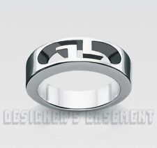GUCCI cutout 10IT-5.25US Signature GG BAND 925 Sterling Silver ring NWT Authentc