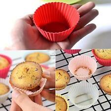 12pc Soft Silicone Cake Muffin Chocolate Cupcake Bakeware Baking Cup Mold Mould