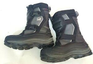 Sorel Alpha Trac Snow Boots Buckle Waterproof Winter Black NL1413 Size 8